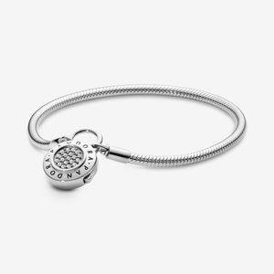 Pandora Pave Padlock Clasp Snake Chain Bracelet